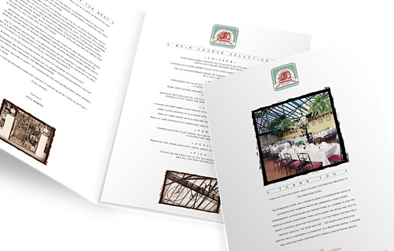 Pumphouse Hotel Wedding Brochure & Menu